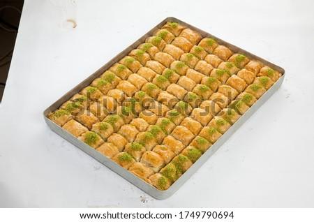 Fresh Turkish Baklava in the baking tray Stock fotó ©