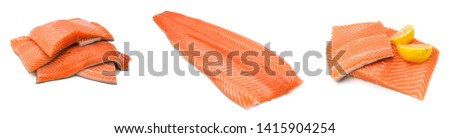 fresh uncooked red fish fillet over white