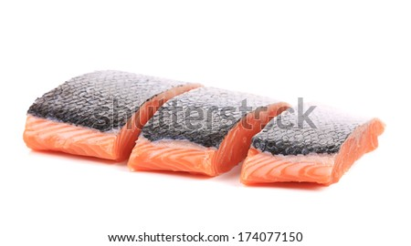 Fresh uncooked red fish fillet slices. Isolated on a white background