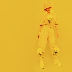 Fresh urban Summer Dj Girl. Monochrome Minimal design trends. Yellow aesthetic