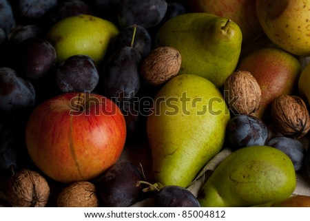 Fresh various fruits and nuts