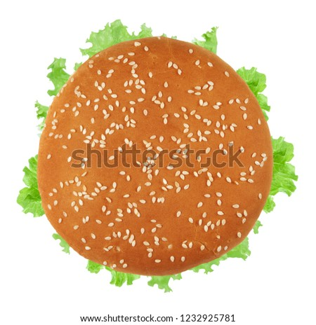 Fresh vegan burger top view. Isolated on white background #1232925781