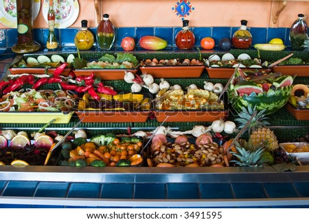 fresh vegetable and fruit salads restaurant display, food series