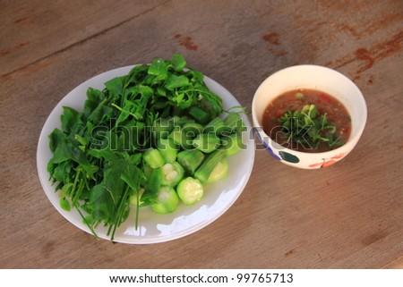 Fresh vegetable and shrimp paste sauce. Thai food - stock photo