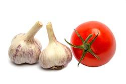 Fresh vegetable (bunch of fresh cherry tomato, garlic,