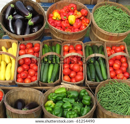 fresh vegetable display - stock photo