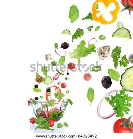 Fresh vegetable in motion.