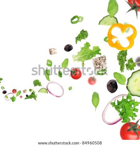 Fresh vegetable in motion