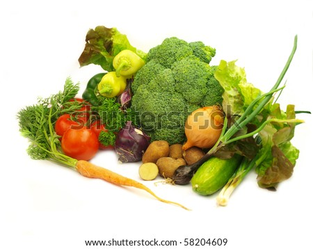 Fresh vegetable on white background