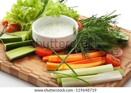 Fresh Vegetable Plate with White Sauce