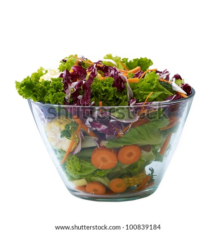 fresh vegetable salad in glass bowl