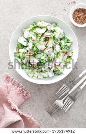 Fresh vegetable salad of green lettuce, radish and cucumber with dill, green onions and greek yogurt Сток-фото ©