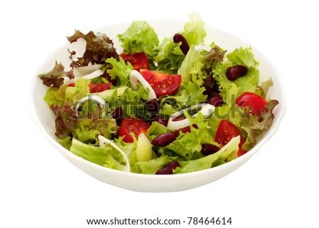 fresh vegetable salad of lettuce, tomato and beans
