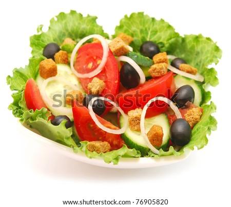 fresh vegetable salad on white