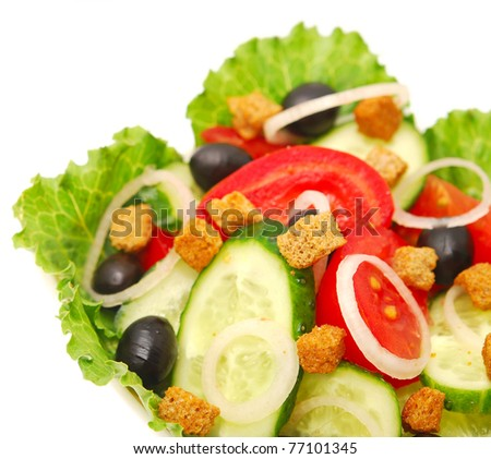 fresh vegetable salad on white