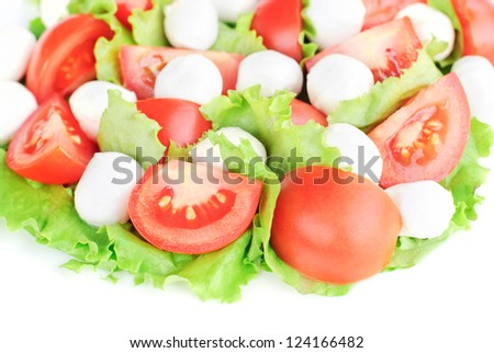 fresh vegetable salad with tomatoes, cheese mozzarella and greens