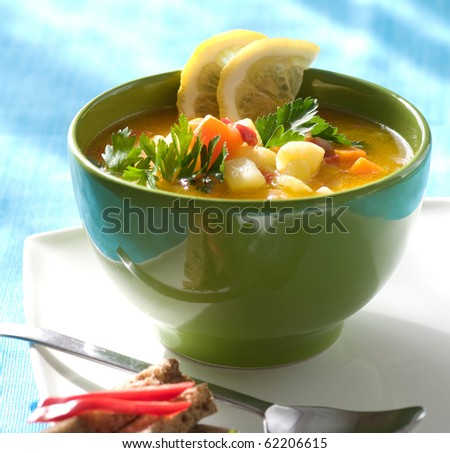 Fresh vegetable soup - stock photo
