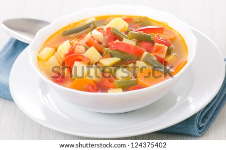 Fresh vegetable soup in bowl
