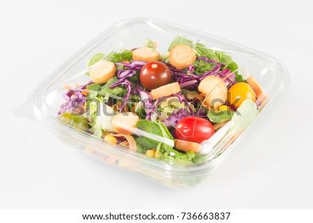 fresh vegetable Takeaway salad on white background #736663837