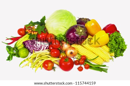 fresh vegetable with leaves isolated on white background