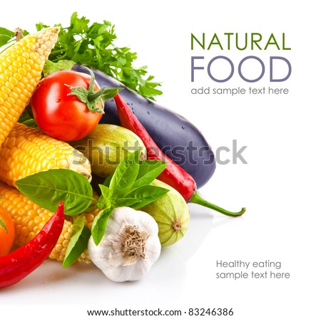 fresh vegetable with leaves isolated on white background - stock photo