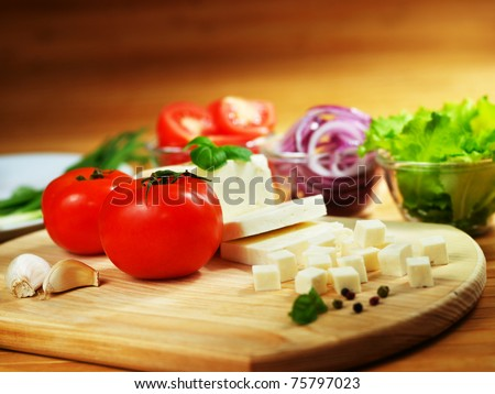 Fresh vegetables and feta cheese