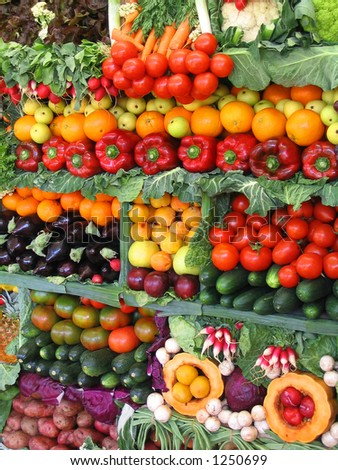 Fresh vegetables and fruits at a farmer's market