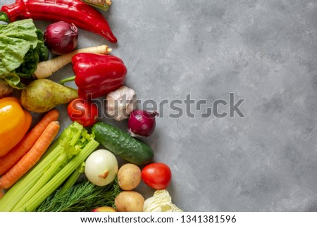 Fresh vegetables and fruits background. Top view, Copy space. #1341381596