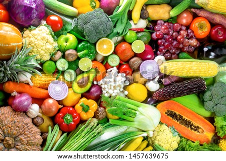 Fresh vegetables and fruits,Colorful fruits and vegetables,clean eating,vegetables and fruits background,top view,Set of fruits and vegetables,Food concept.