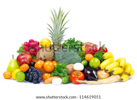 Fresh vegetables and fruits on white