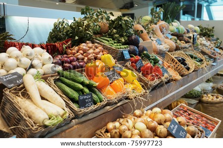 Fresh vegetables and groceries
