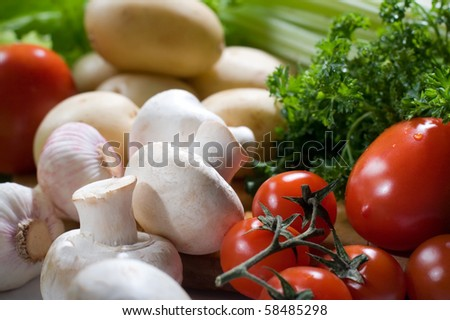 Fresh vegetables and mushrooms