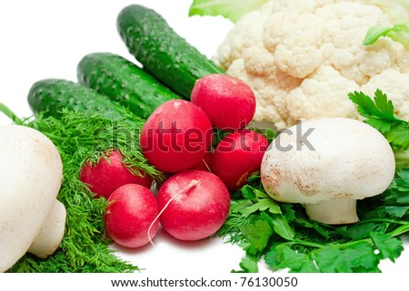 Fresh vegetables and mushrooms isolated on white