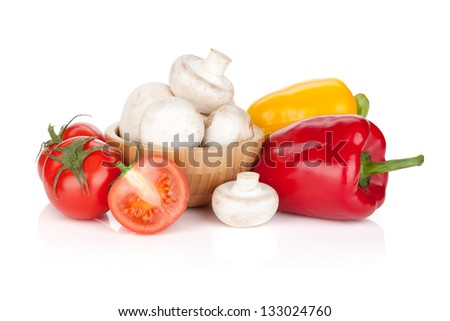 Fresh vegetables and mushrooms. Isolated on white background