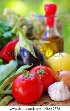 Fresh vegetables and olive oil