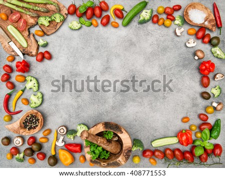 Fresh vegetables and spices. Food background. Healthy nutrition. Flat lay frame - Shutterstock ID 408771553