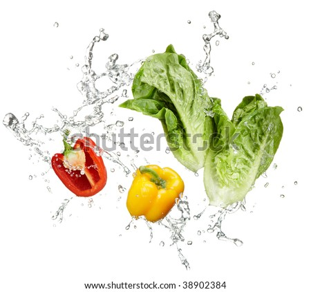 fresh vegetables and water splash on white background