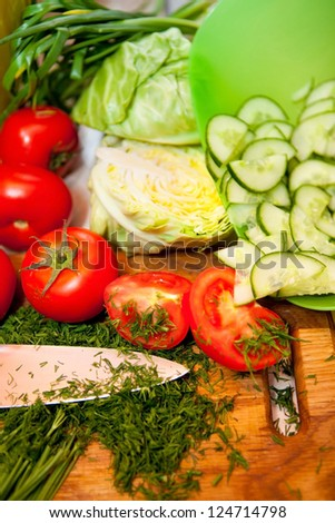 Fresh vegetables are useful on a kitchen table