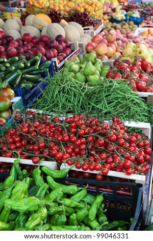 Fresh vegetables at farmer market in Italy