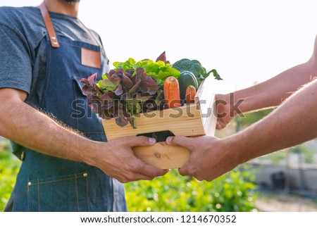 Fresh vegetables being sold at farmers marke. Farmer giving box of veg to customer. Local farmer talks with customer at farmers' market. Close up view of a farmer and customer ストックフォト ©