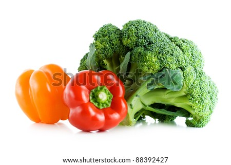 Fresh vegetables, broccoli and pepper, isolated on white