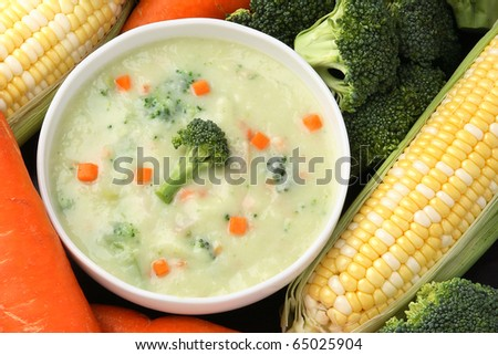 fresh Vegetables cream soup - stock photo