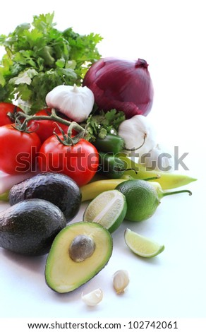 Fresh vegetables for making guacamole