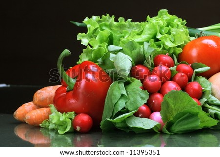 Fresh Vegetables, Fruits and other foodstuffs.