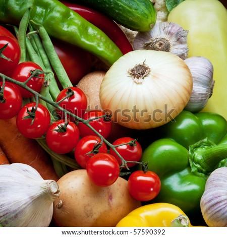 Fresh Vegetables, Fruits and other foodstuffs. Background.