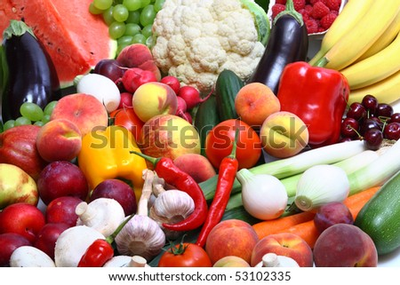 Fresh Vegetables, Fruits and other foodstuffs close up