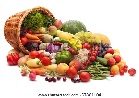 Fresh Vegetables, Fruits and other foodstuffs. Isolated.