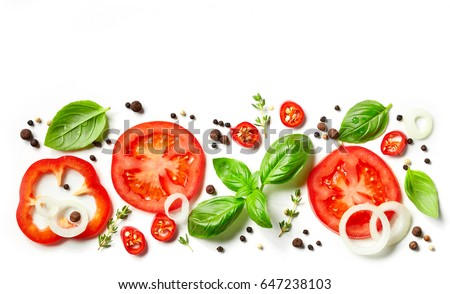 fresh vegetables, herbs and spices isolated on white background #647238103