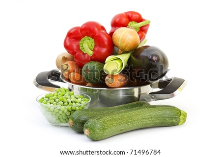 fresh vegetables in a cooking pot