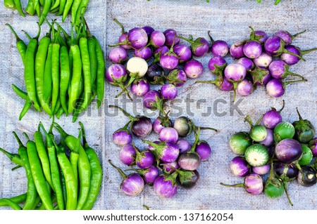 Fresh vegetables in Asian traditional market